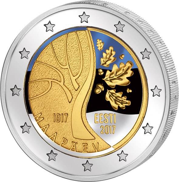 2 Euro Estland Weg in die Unabhängigkeit 2017 mit Farb-Applikation