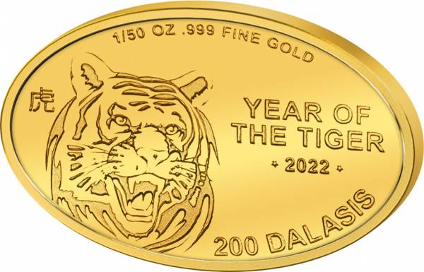 200 Dalasis Gambia Jahr des Tigers 2017