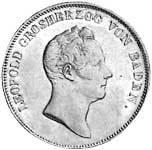 Ausbeute-Kronentaler Silber Leopold Großherzog v. Baden Vorzüglich