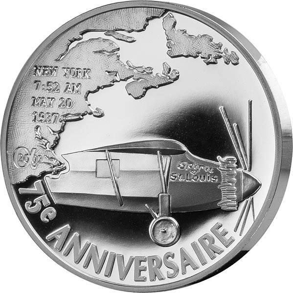 1,5 Euro Frankreich 75 Jahre erster Atlantikflug von Charls Lindbergh 2002