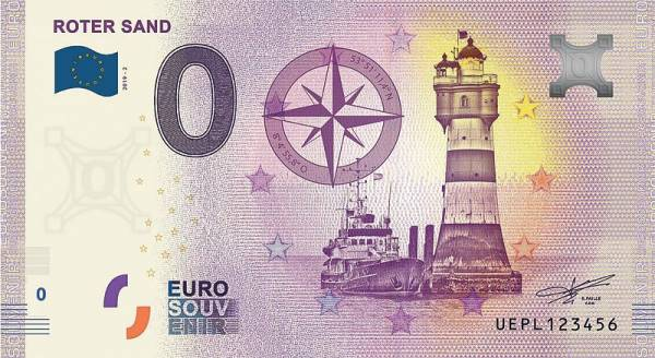 0-Euro-Banknote Leuchtturm Roter Sand 2019