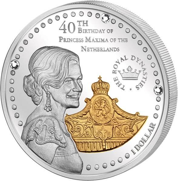 1 Dollar Salomonen 40. Geburtstag Prinzessin Maxima 2011 Polierte Platte