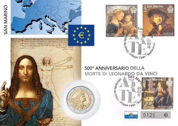 2 Euro Numisbrief San Marino 500. Todestag Leonardo da Vinci 2019