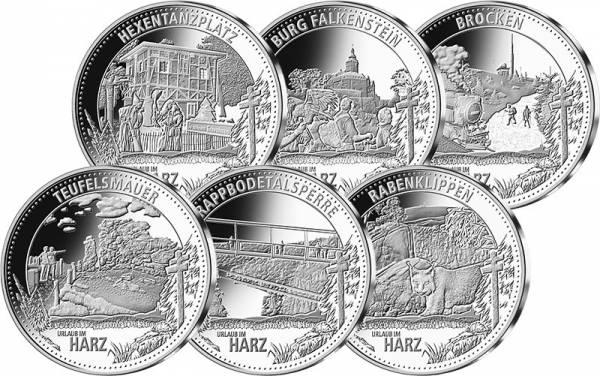 6 Gedenkprägungen Urlaubsregionen im Harz
