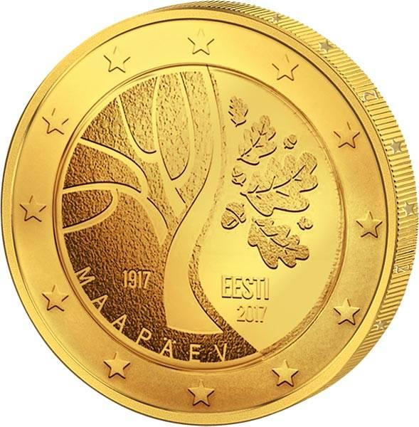 2 Euro Estland Weg in die Unabhängigkeit 2017 vollvergoldet