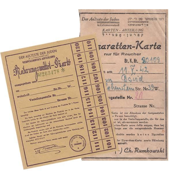 Nahrungsmittelkarte und Zigarettenkarte von 1942  im Set