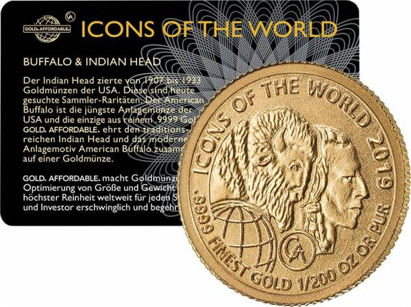 1/200 Unze Gold Ruanda Buffalo Indian Head 2019