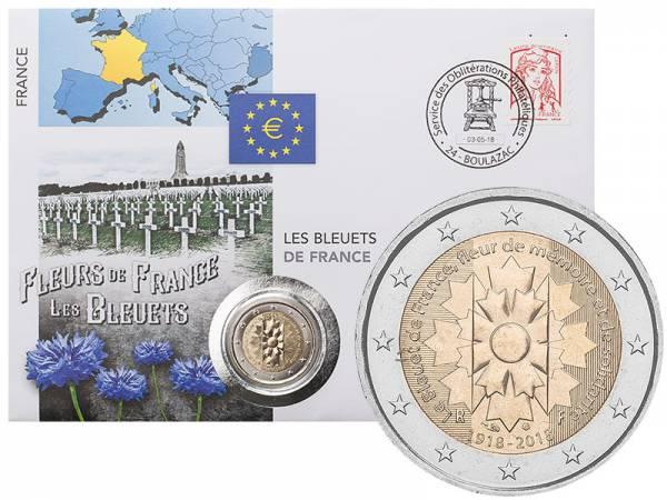 2 Euro Numisbrief Frankreich Kornblume 2018