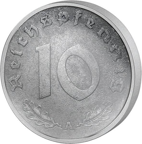 10 Reichspfennig Hakenkreuz 1940-45 Zink s-ss