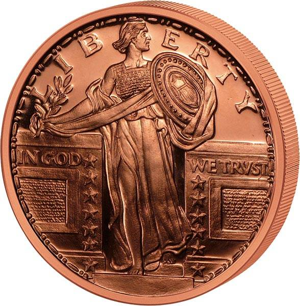1 Unze Kupfer Gedenkprägung Standing Liberty