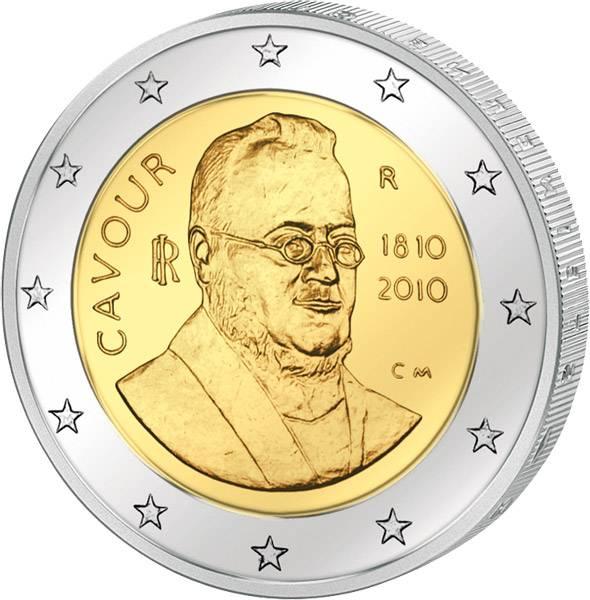 2 Euro Italien 200. Geburtstag Camillo Benso Graf von Cavour 2010 Stempelglanz