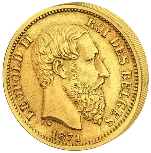 20 Francs Belgien Leopold II. 1866-1882