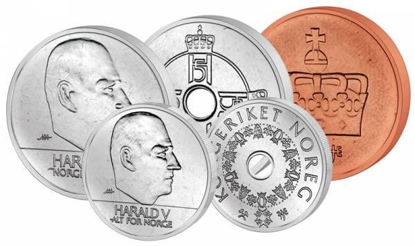 50 Öre - 20 Kronen Kursmünzensatz Norwegen 2000