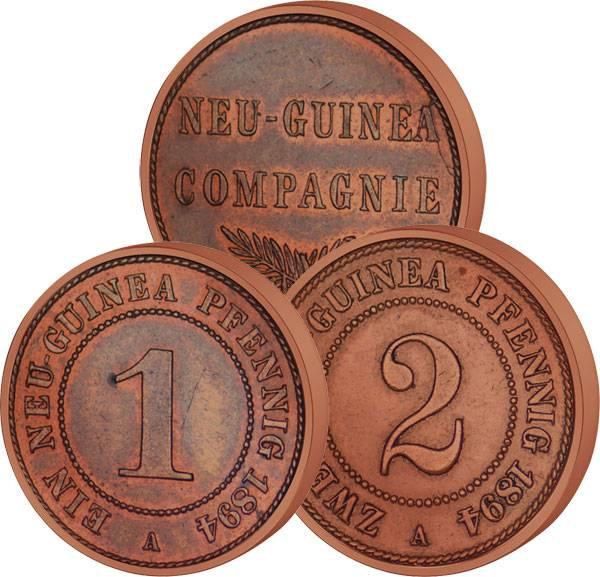 1 und 2 Pfennige Deutsch-Neuguinea Palmzweige 1894 A Sehr schön