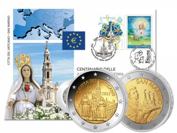 Doppel-Numisbrief San Marino und Vatikan 100 Jahre Erscheinungen von Fátima 2017
