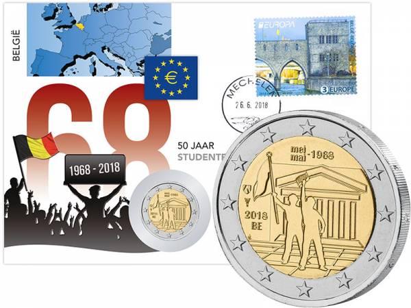 2 Euro Numisbrief Belgien 50 Jahre Studentenbewegung 2018