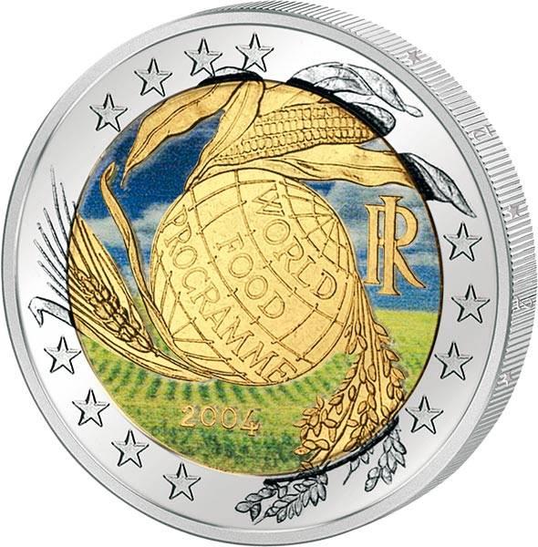 2 Euro Italien Welternährungsprogramm 2004 mit Farb-Applikation