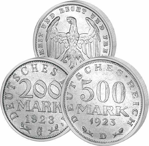 200 und 500 Mark Deutsches Reich 1923 ss-vz