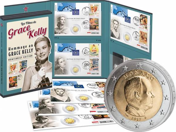 3 x 2 Euro Numisbriefe Hommage an Grace Kelly 2015-2017