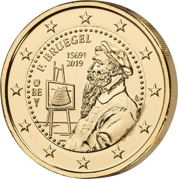 2 Euro Belgien 450. Todestag von Peter Bruegel 2019 vollvergoldet