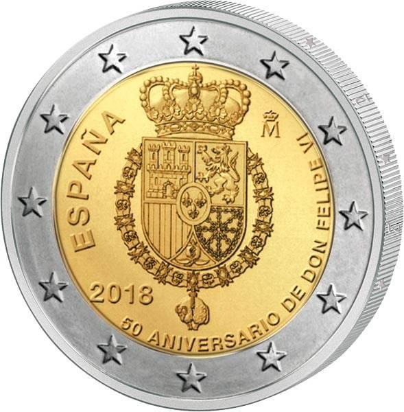 2 Euro Spanien 50. Geburtstag König Felipe VI. 2018