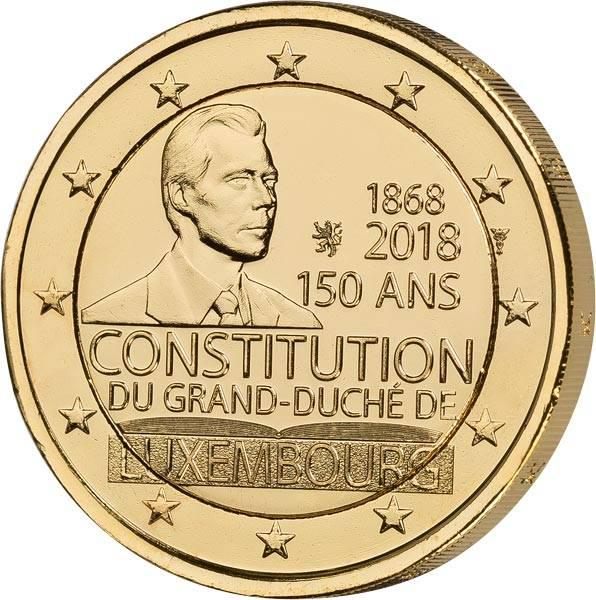 2 Euro Luxemburg 150 Jahre Verfassung 2018 vollvergoldet