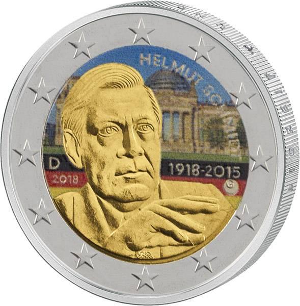 2 Euro BRD Helmut Schmidt 2018 mit Farb-Applikation