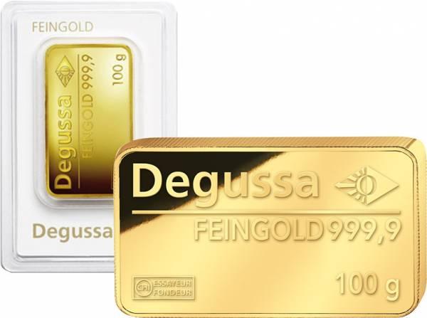 100 Gramm Goldbarren Degussa 2015