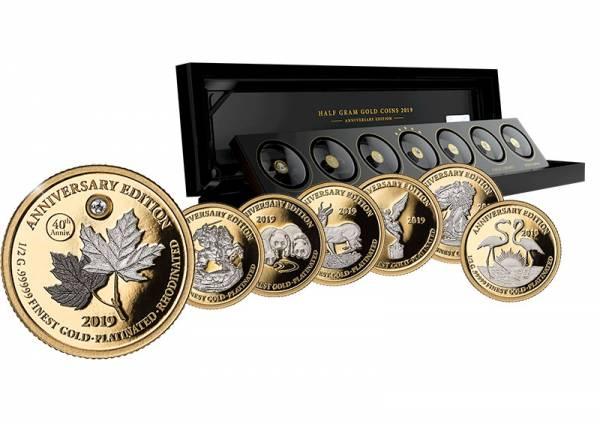 7 x 1.000 Francs Gabun Gold Platinum Edition 2019