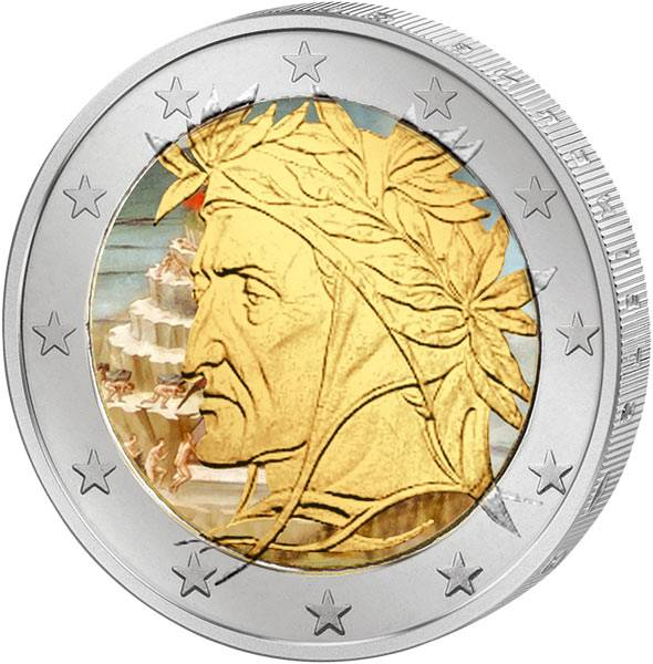 2 Euro Italien JuW mit Farb-Applikation Dante Alighieri