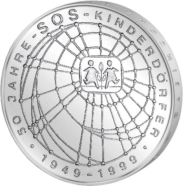 10 DM Münze Silber 50 Jahre SOS-Kinderdörfer