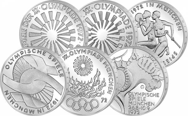 6 x 10 DM BRD Komplettsatz Olympische Spiele 1972