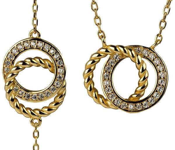 Kette und Armband mit Zirkonia und Ringen