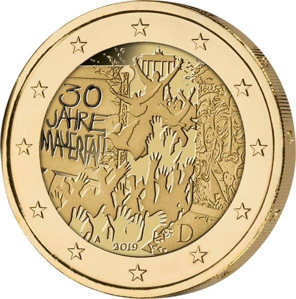 2 Euro BRD 30 Jahre Mauerfall 2019 vollvergoldet