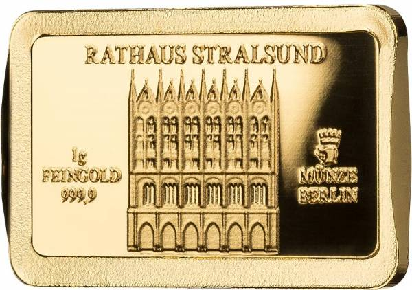 1 Gramm Goldbarren Deutsche Wahrzeichen Rathaus Stralsund