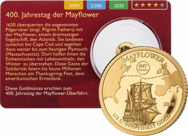 10 Dollar Barbados Mayflower Gold Coin Card 2020