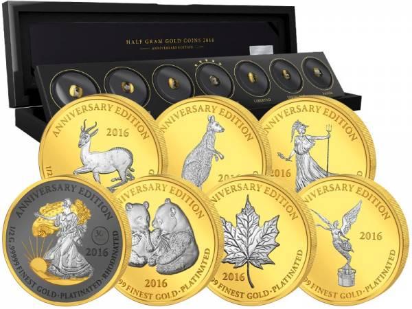7 x 1.000 Francs Gabun Gold Platinum Edition 2016