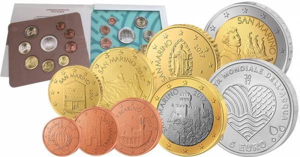 Euro Kursmünzensatz San Marino 2017 mit 5 Euro San Marino Welttag des Wassers 2017