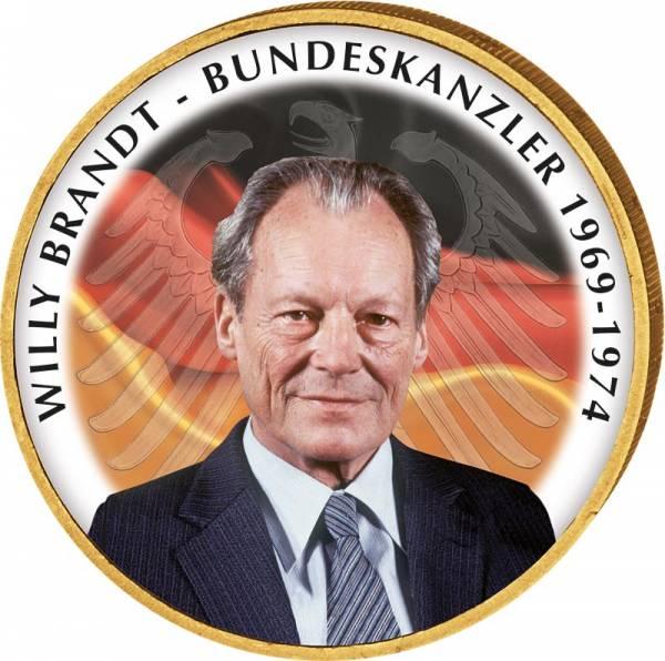 2 Euro BRD Willy Brandt mit Farb- und Gold-Applikation JuW