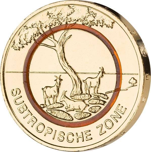 5 Euro BRD Subtropische Zone 2018 mit Gold-Applikation