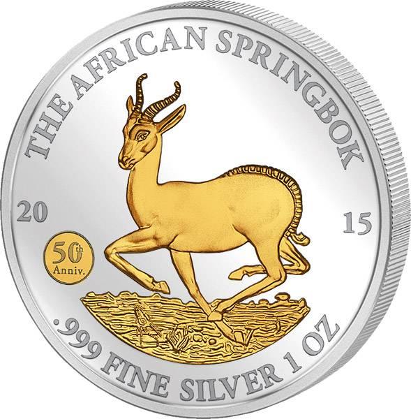 1 Unze Gabun Springbock 2015 mit Gold-Applikation 2015   Stempelglanz