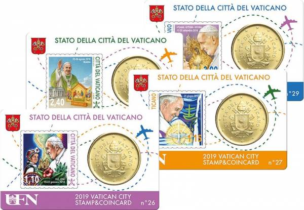 4 x 50 Cent Vatikan Stamp und Coincard Papst Franziskus 2019