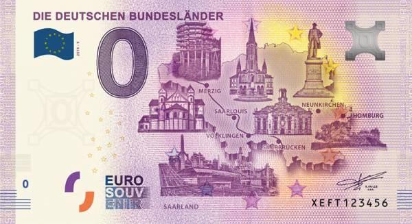 0-Euro-Banknote Bundesland Saarland 2019