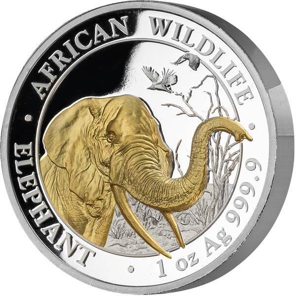 100 Shillings Somalia Hoch-Relief Elefant 2018