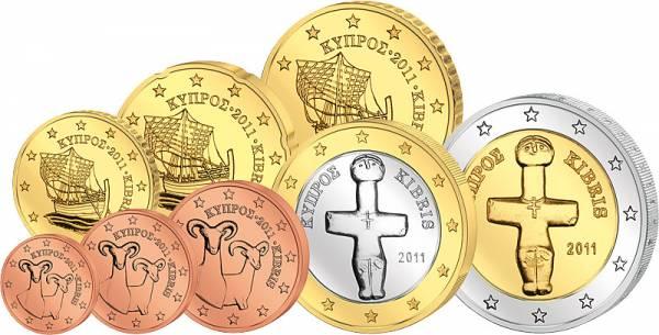 1 Cent-2 Euro (8 Werte) Kursmünzensatz Zypern J.u.W. prägefrisch