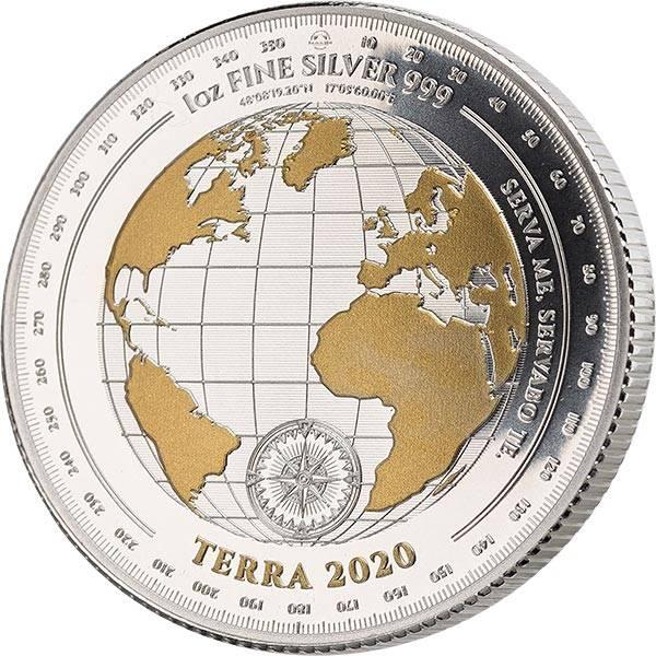5 Dollars Tokelau Terra 2020 mit Gold-Applikation