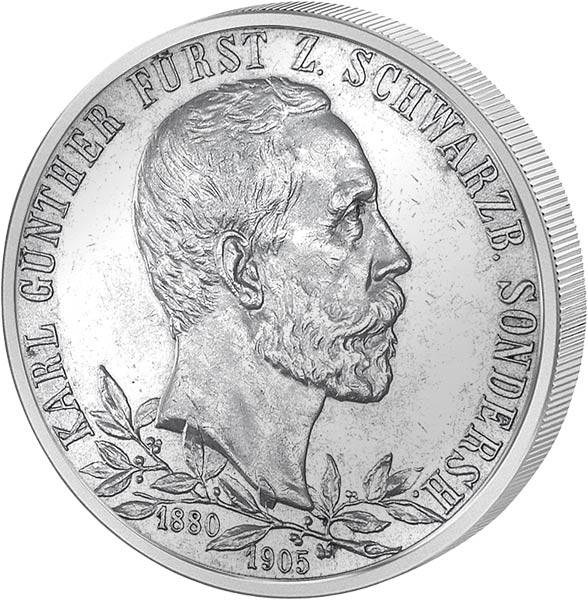 2 Mark Schwarzburg-Sondershausen Regierungsjubiläum dünner Randstab 1905 ss-vz