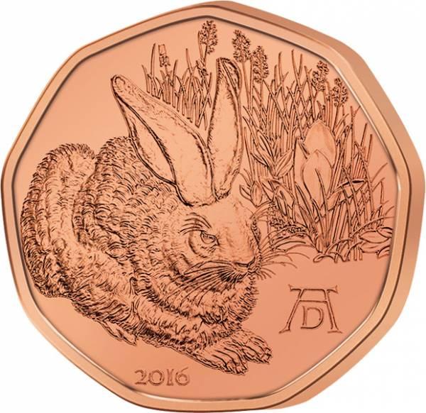 5 Euro Österreich Feldhase 2016 prägefrisch