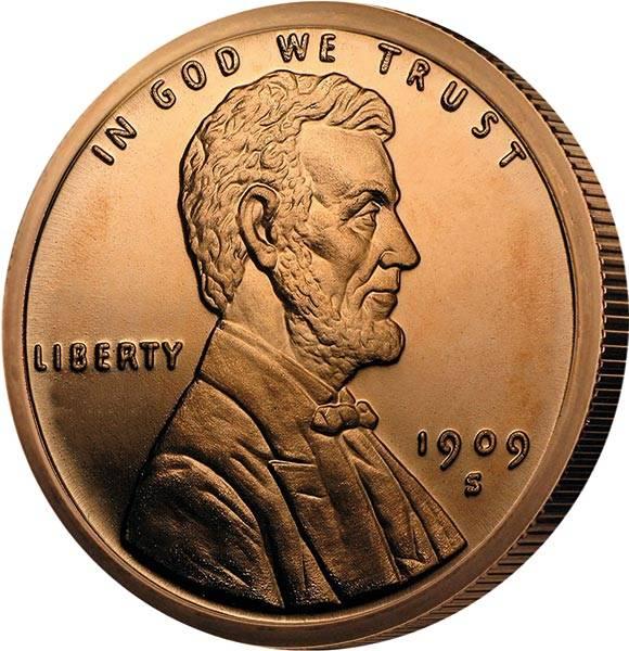 1 AVDP-Unze Kupfer Gedenkprägung Lincoln