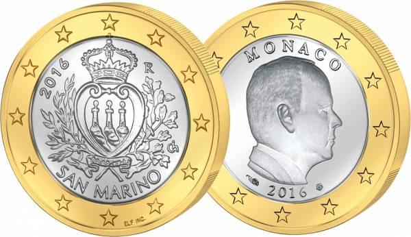 1 Euro Monaco Albert II. + 1 Euro San Marino Staatswappen
